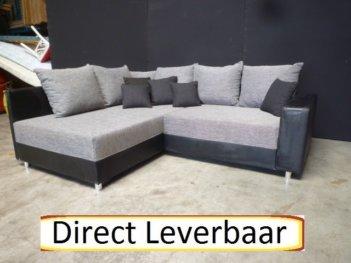 Hoek Slaapbank Zwart Lederlook Met Grijze Stof H24