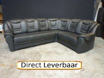 Hoekbank Zwart Leer H47 Hoge Rug