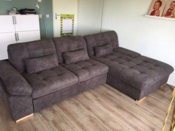 Lounge Slaapbank Hugo Verstelbare Arm Bruin