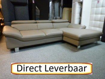 Loungebank H8 Taupe Lederlook Klapleuningen
