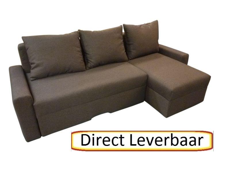 Kleine Hoekbank Bruin.Tween Lounge Slaapbank Bruin Stof Met Opbergvak Hoekbanken Nl
