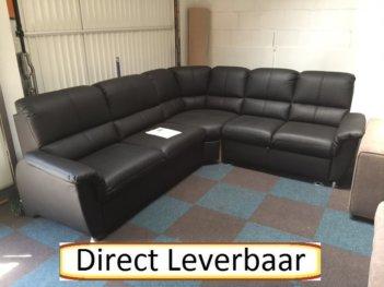 Vario Hoekbank Slaapbank Zwart Lederlook