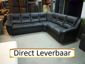 Hoekbank Vario Slaapbank Zwart Lederlook