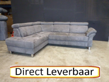Hoekbank H65 Grijs Alcantara Klapleuningen
