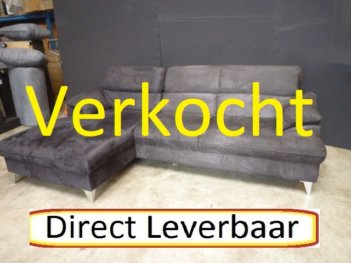 Loungebank H66 Zwart Alcantara Klapleuningen
