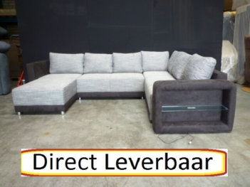U Hoekbank Slaapbank H69 Grijs Stof Met Bruin Altara