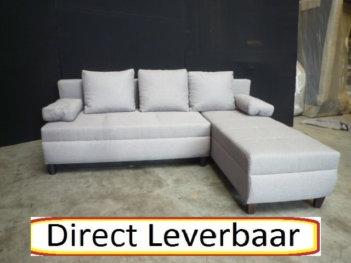 Lounge Slaapbank H71 Grijs Stof Opbergvak