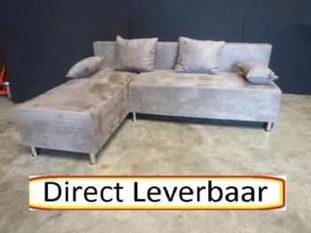 Lounge Slaapbank H72 Grijs Alcantara Opbergvak