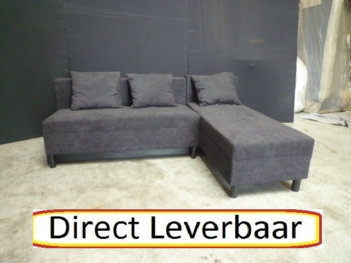 Lounge Slaapbank H74 Zwart Alcantara Opbergvak