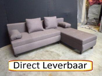 Lounge Slaapbank H75 Bruin Stof Opbergvak