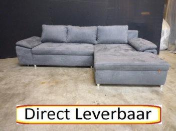 Loungebank Slaapfunctie H77 Grijs Alcantara
