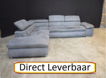 Hoekbank Loungebank H4 Grijs Alcantara Stof