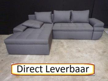 Loungebank Slaapbank H6 Grijs Stof Losse Kussens