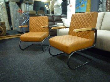 2x Fauteuils Cognac Bruin Lederlook Industriële Look