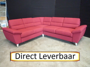 Hoekbank Slaapbank H12 Rood Stof Opberg Lade