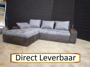 Lounge Slaapbank H14 Grijs Met Zwart Alcantara