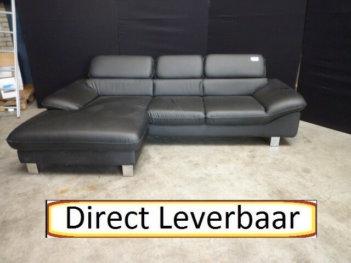 Lounge Bank H17 Zwart Lederlook Verstelbare Hoofdsteunen