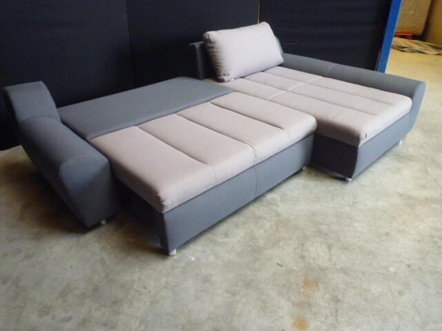 Slaapbank Lounge Grijs.Lounge Slaapbank H18 Grijs Met Taupe Stof Hoekbanken Nl