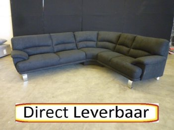 Hoekbank Rotterdam 6 Zwart Microvezel Hoge Chrome Poot