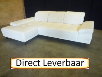 Loungebank H12 Creme Stof Rug Verstelbaar