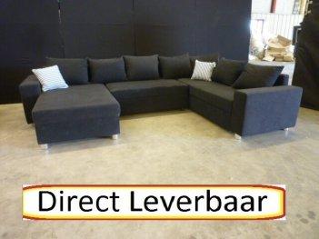 U Hoekbank Rotterdam 5 Zwart Microvezel Gratis Hocker