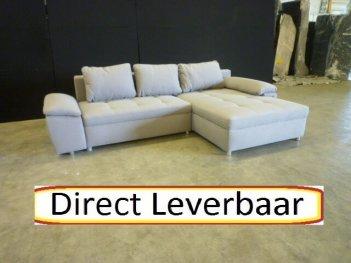 Loungebank H53 Grijs Stof Losse Kussens