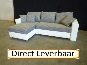 Lounge Slaapbank H28 Grijs Stof Wit Lederlook