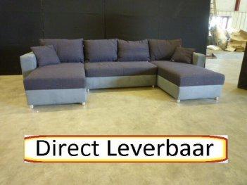 U Hoek Loungebank H4 Antraciet Met Donker Paarse Slaapbank