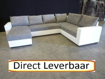 U Hoek Loungebank H6 Grijs Wit Lederlook Losse Kussens