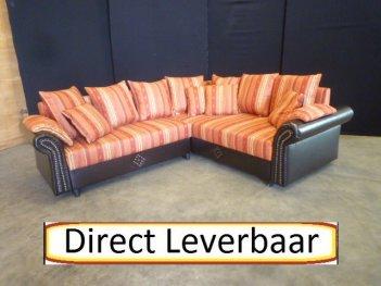 Hoek Slaapbank H70 Engels Design Rood Zwart