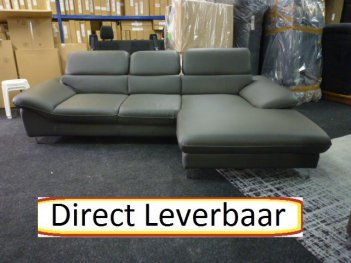 Loungebank H16 Grijs Lederlook Klapleuningen