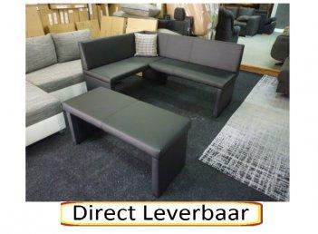 Keukenbank Zwart Lederlook Met Extra Bankje