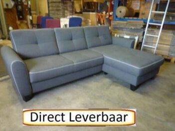 Loungebank H18 Grijs Stof Met Contrast Stiknaad