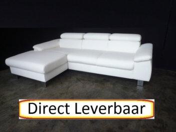 Loungebank H41 Wit Lederlook Klapleuningen