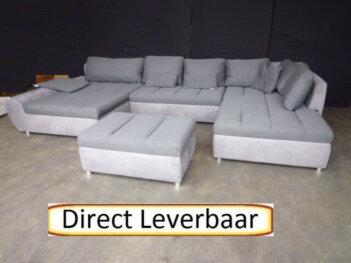 U-Hoekbank H46 Slaapfunctie + Hocker Grijs Stof