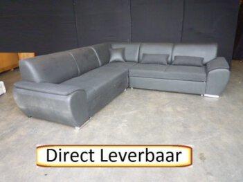 Hoek Slaapbank H47 Zwart Stof Met Lederlook
