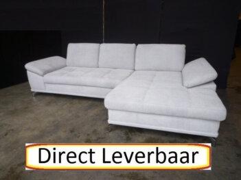Loungebank H48 Grijs Stof Rug Verstelbaar