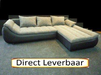 Lounge Slaapbank Rotterdam 12 Zwart Lederlook Grijs Stof