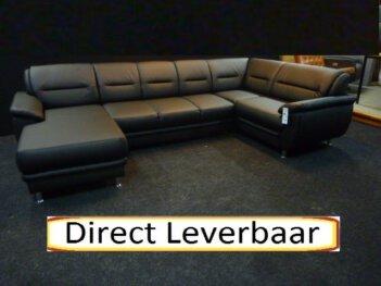 U Vorm Hoekbank H64 Zwart Lederlook