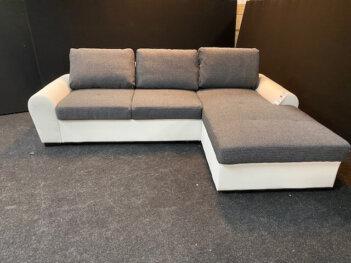 Lounge Slaapbank H12 Grijs Stof Wit Lederlook Ombouw